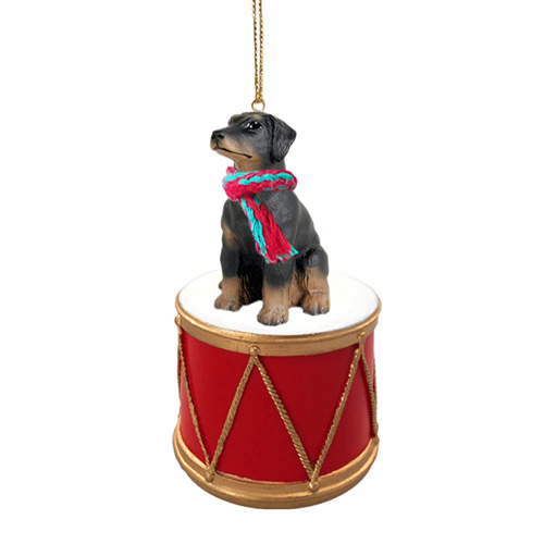Little Drummer Doberman Pinscher Black Uncropped Christmas Ornament