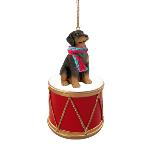 Little Drummer Doberman Pinscher Red Uncropped Christmas Ornament