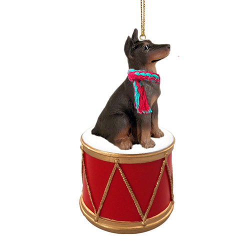 Little Drummer Red Doberman Pinscher Christmas Ornament
