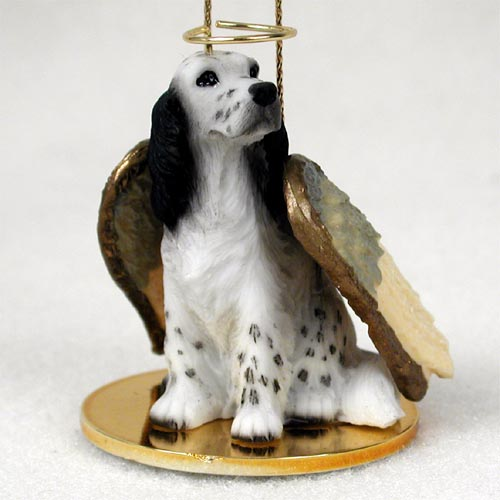 English Setter Angel Ornament Belton Blue