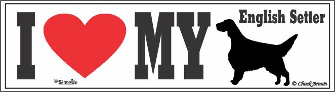 English Setter Bumper Sticker I Love My