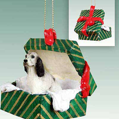English Setter Gift Box Christmas Ornament Belton Blue