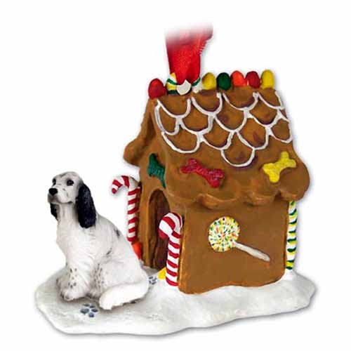 English Setter Gingerbread House Christmas Ornament Belton Blue