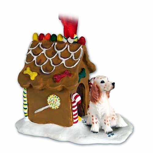 English Setter Gingerbread House Christmas Ornament Belton Orange