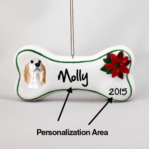 English Setter Personalized Dog Bone Christmas Ornament
