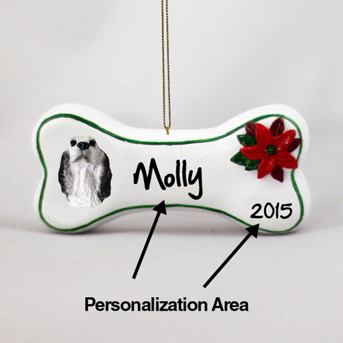 English Setter Personalized Dog Bone Christmas Ornament Belton Blue