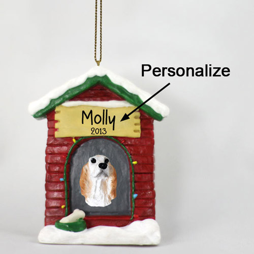 English Setter Personalized Dog House Christmas Ornament