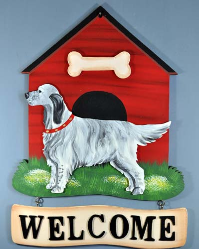 English Setter Welcome Sign B-W