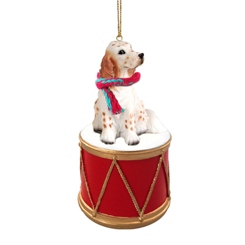 Little Drummer English Setter Christmas Ornament