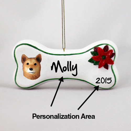 Finnish Spitz Personalized Dog Bone Christmas Ornament