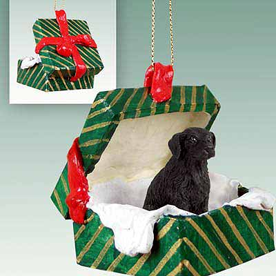 Flat-Coated Retriever Gift Box Christmas Ornament