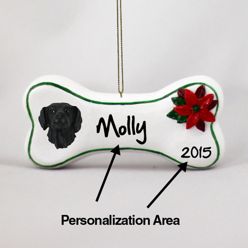 Flat-Coated Retriever Personalized Dog Bone Christmas Ornament