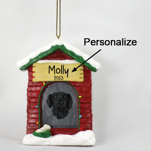 Flat-Coated Retriever Personalized Dog House Christmas Ornament