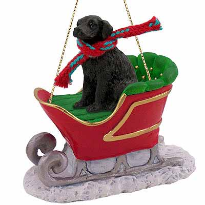 Flat-Coated Retriever Sleigh Ride Christmas Ornament