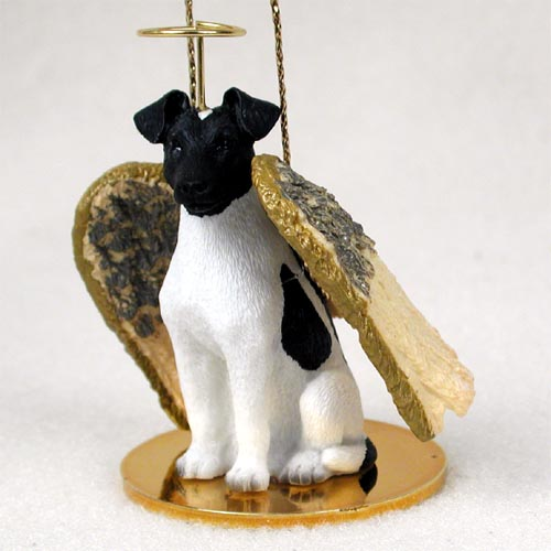 Smooth Fox Terrier Angel Ornament Black-White