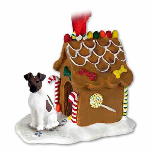 Smooth Fox Terrier Gingerbread House Christmas Ornament Brown-White