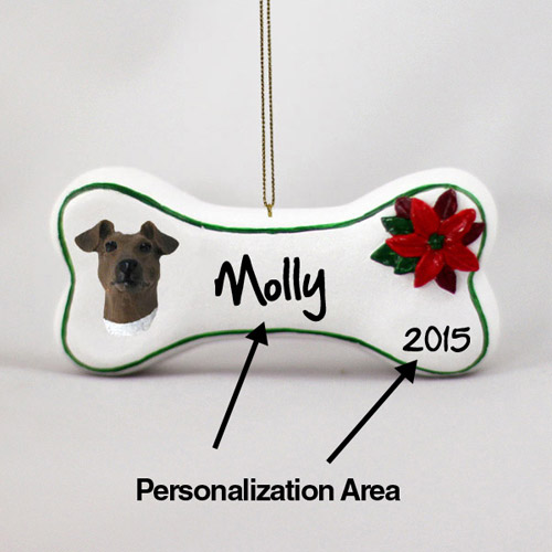 Smooth Fox Terrier Personalized Dog Bone Christmas Ornament
