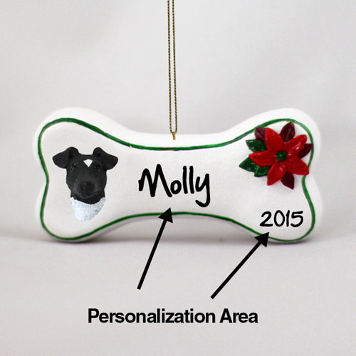 Smooth Fox Terrier Personalized Dog Bone Christmas Ornament Black-White