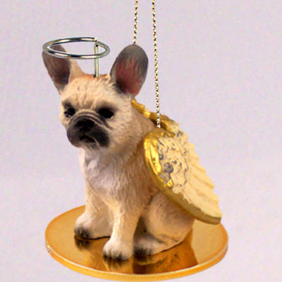 French Bulldog Angel Ornament Fawn