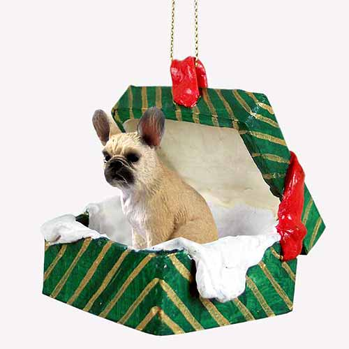 French Bulldog Gift Box Christmas Ornament Fawn