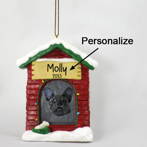 French Bulldog Personalized Dog House Christmas Ornament