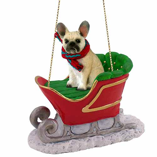 French Bulldog Sleigh Ride Christmas Ornament Fawn