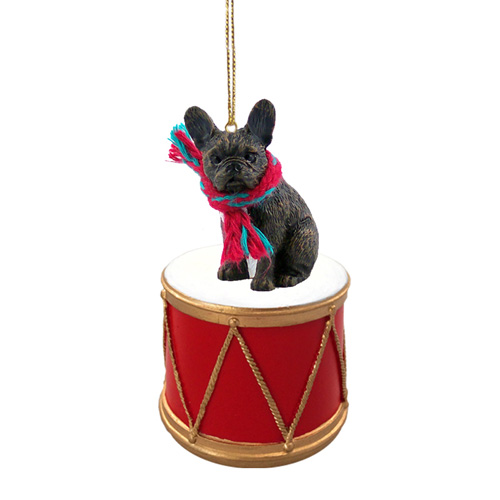 Little Drummer French Bulldog Christmas Ornament