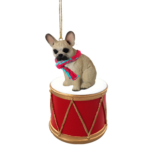 Little Drummer French Bulldog Fawn Christmas Ornament