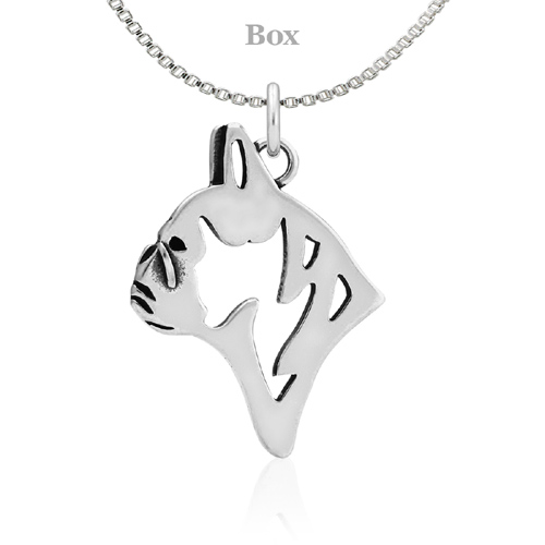Sterling Silver French Bulldog Head Necklace