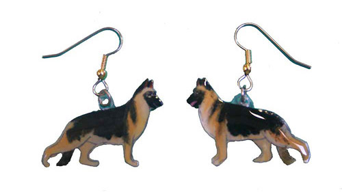 German Shepherd Earrings Tan & Black Hand Painted Acrylic