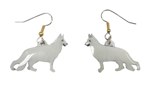 German Shepherd Earrings White Hand Painted Acrylic