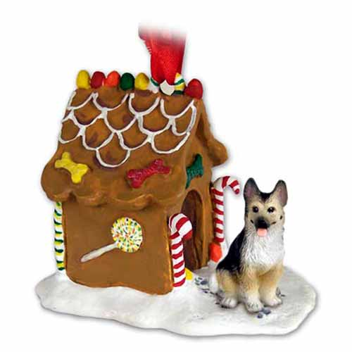 German Shepherd Gingerbread House Christmas Ornament Tan-Black