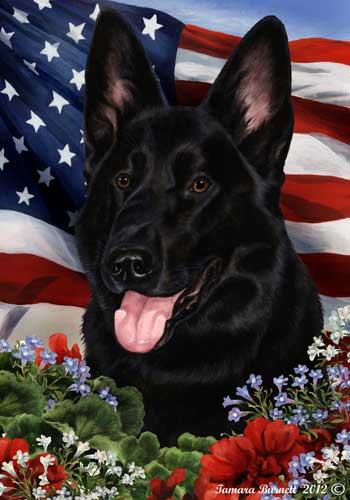 German Shepherd House Flag Black