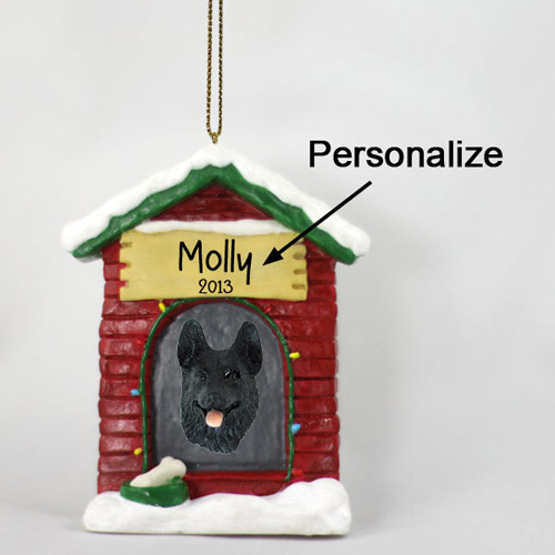 German Shepherd Personalized Dog House Christmas Ornament Black