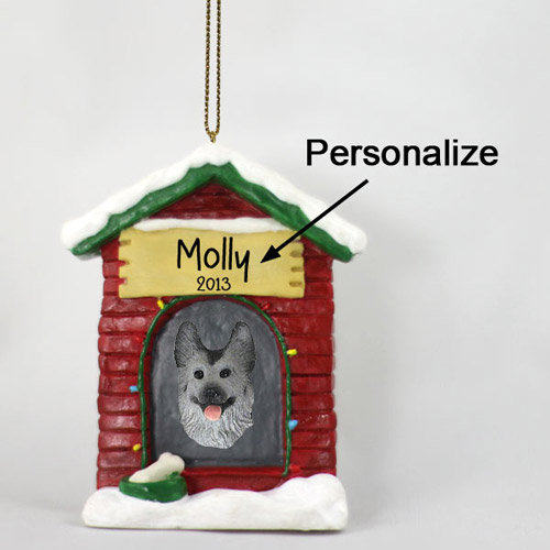 German Shepherd Personalized Dog House Christmas Ornament Black-Silver