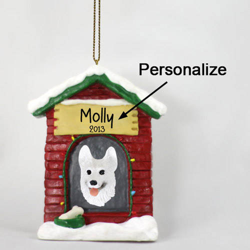 German Shepherd Personalized Dog House Christmas Ornament White