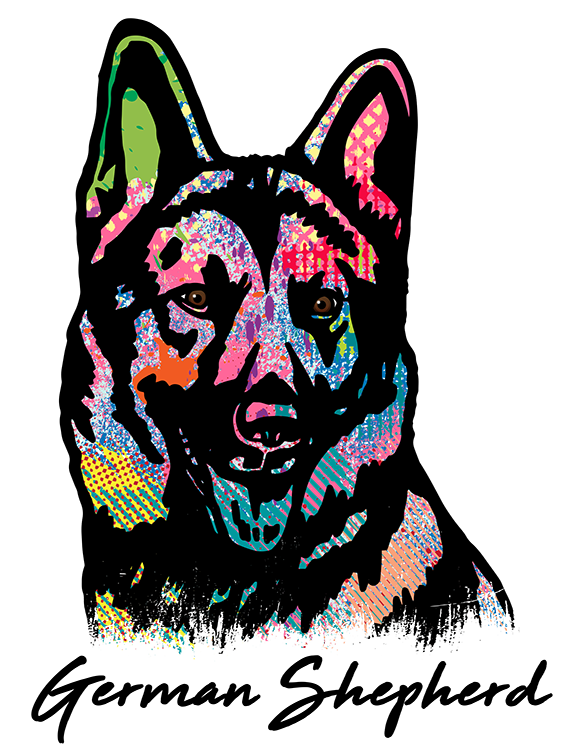 German Shepherd T Shirt Colorful Abstract