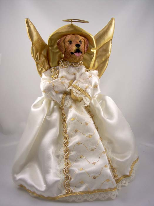 Golden Retriever Angel Christmas Tree Topper