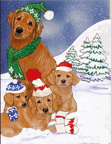 Golden Retriever Christmas Cards Family