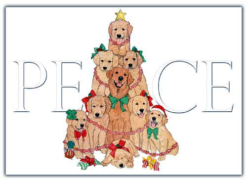 Golden Retriever Christmas Cards Peace