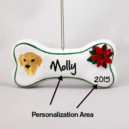 Golden Retriever Personalized Dog Bone Christmas Ornament