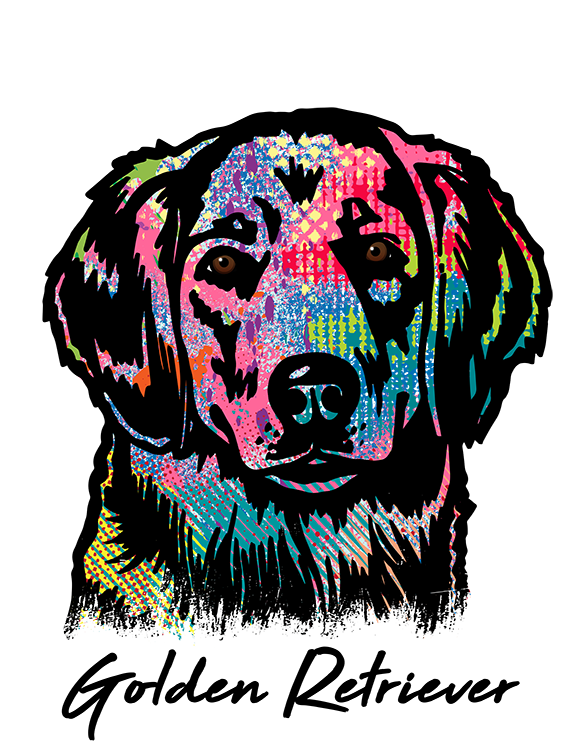 Golden Retriever T Shirt Colorful Abstract