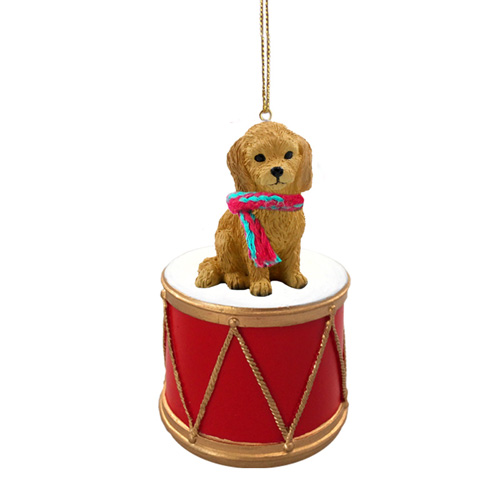 Little Drummer Goldendoodle Christmas Ornament
