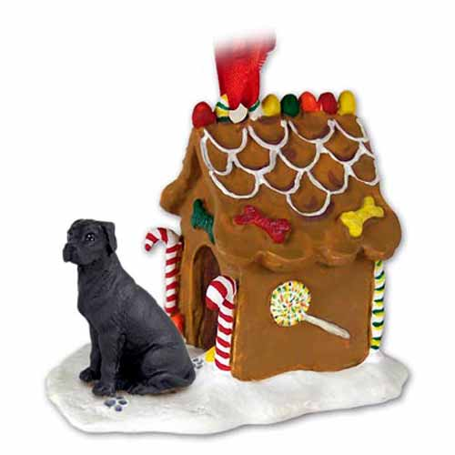 Great Dane Gingerbread House Christmas Ornament Black Uncropped