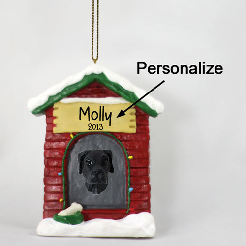 Great Dane Personalized Dog House Christmas Ornament Black Uncropped