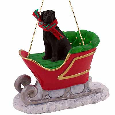 Great Dane Sleigh Ride Christmas Ornament Black Uncropped