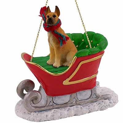 Great Dane Sleigh Ride Christmas Ornament Fawn