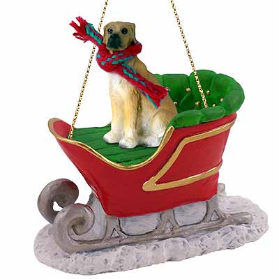 Great Dane Sleigh Ride Christmas Ornament Fawn Uncropped