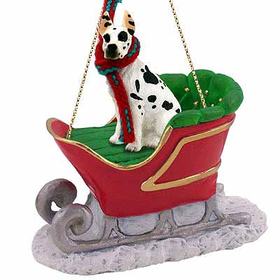Great Dane Sleigh Ride Christmas Ornament Harlequin