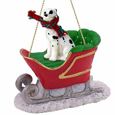 Great Dane Sleigh Ride Christmas Ornament Harlequin Uncropped